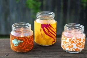 Barattoli porta candele ricoperti di tessuto